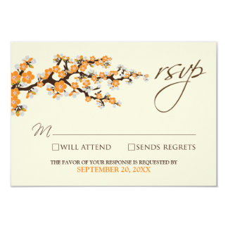 Cherry Blossoms RSVP Card (orange) 9 Cm X 13 Cm Invitation Card