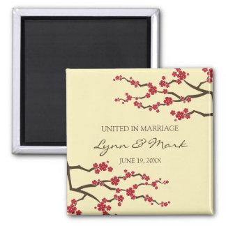 Cherry Blossoms Sakura Floral Wedding Announcement Square Magnet