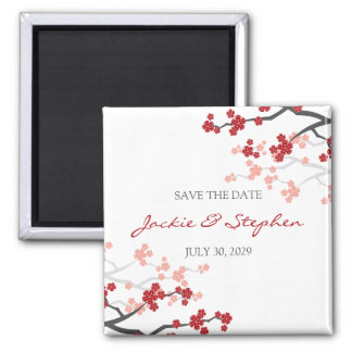 Cherry Blossoms Sakura Flowers Tree Save The Date Square Magnet