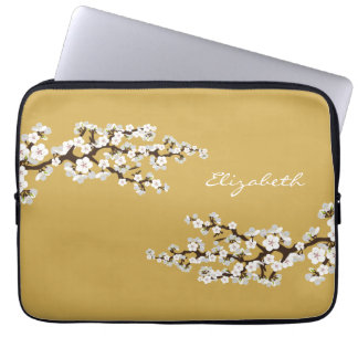 Cherry Blossoms Sakura Laptop Sleeve (gold)