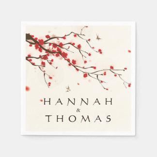 Cherry Blossoms (Sakura) Watercolor Floral Wedding Disposable Serviette