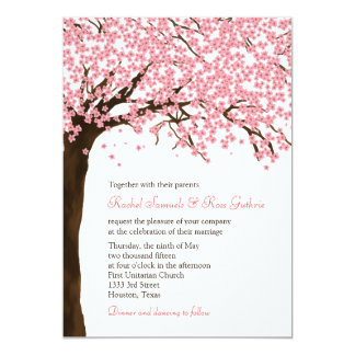 "Cherry Blossoms / Sakura Watercolor Wedding 5"" X 7"" Invitation Card"