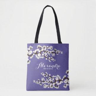 Cherry Blossoms Sakura Wedding Party Tote (purple)