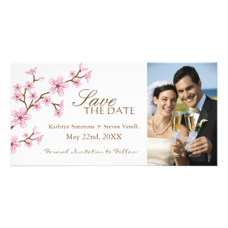Cherry Blossoms Save The Date Invitation Personalized Photo Card