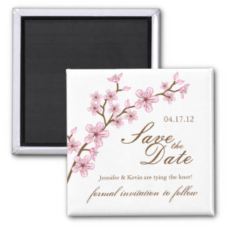 Cherry Blossoms Save the Date Wedding Magnet