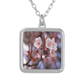 Cherry Blossoms Silver Plated Necklace