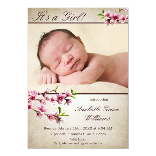 Cherry Blossoms Tan Photo Birth Announcement