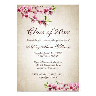 Cherry Blossoms Vintage Tan Graduation 13 Cm X 18 Cm Invitation Card