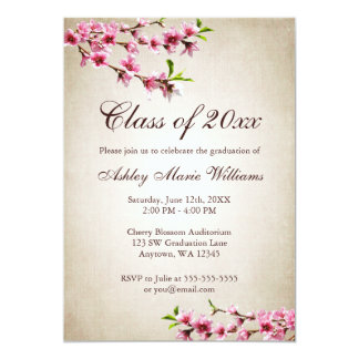 Cherry Blossoms Vintage Tan Graduation Card