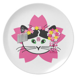 Cherry-blosson Cat Party Plate