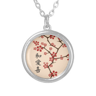 CHERRY BLOSSUMS Peace, Love, Joy Silver Plated Necklace