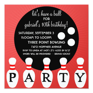 Cherry Bomb Red Pin Party Bowling Birthday Party 13 Cm X 13 Cm Square Invitation Card