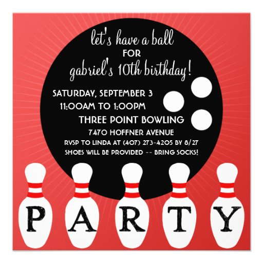 Cherry Bomb Red Pin Party Bowling Birthday Party Personalized Invitation