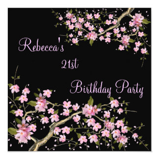Cherry Bossom 21st Elegant Birthday Party Black Card