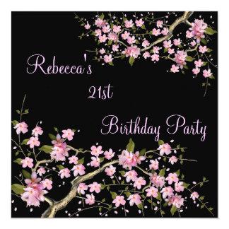 """Cherry Bossom 21st Elegant Birthday Party Black 5.25"""" Square Invitation Card"""