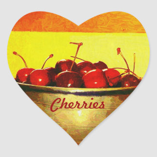 Cherry Bowl Heart Sticker