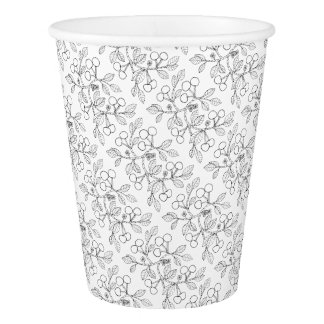 Cherry Branch Line Art Design Paper Cup