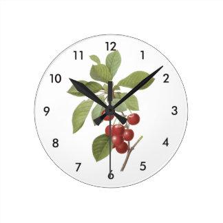 cherry(Cerasus domestica) by Redouté Round Clock