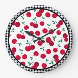 cherry checkered wall clock