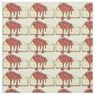 Cherry Cheesecake Slice Slices Cheese Cake Fabric
