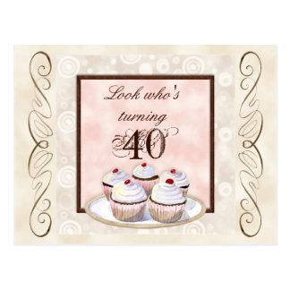 Cherry Cupcake 40th Birthday Party Invitation Postcards