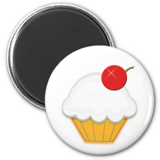 Cherry Cupcake Art 6 Cm Round Magnet