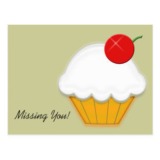 Cherry Cupcake Art Postcard