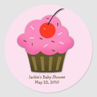 Cherry Cupcake Baby Shower Favor Sticker