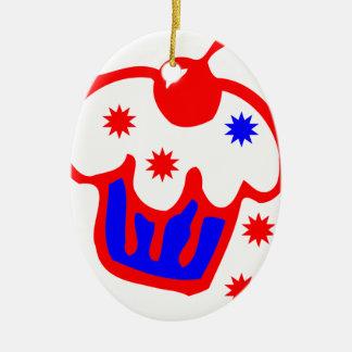 cherry cupcake ceramic oval decoration