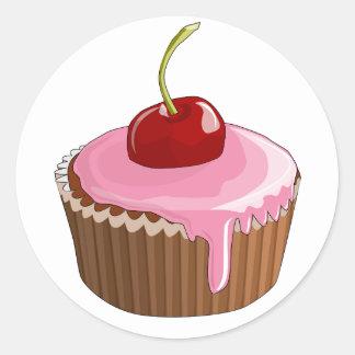 Cherry Cupcake Stickers Round Sticker