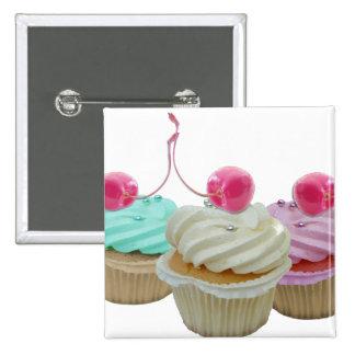 Cherry cupcakes 15 cm square badge
