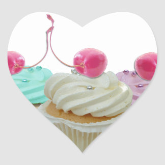 Cherry cupcakes heart sticker