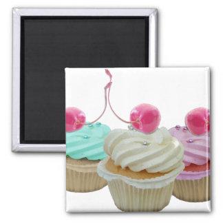 Cherry cupcakes square magnet