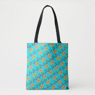Cherry Flower Pattern Design in Blue Tote Bag