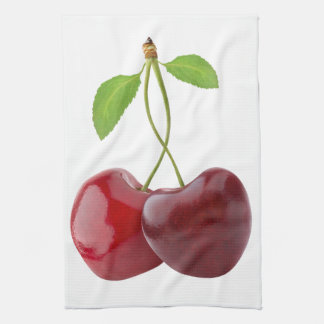 Cherry hearts tea towel