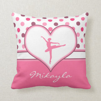 Cherry Inspired Pink Polka-Dots Ballet Dancer Throw Pillow