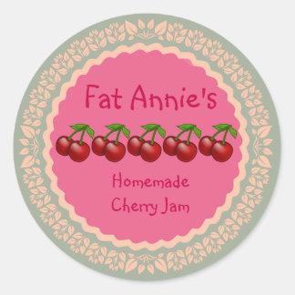 Cherry Jam Label Round Sticker