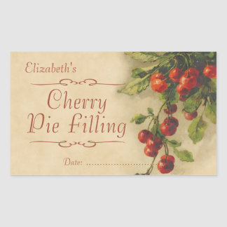 Cherry jam or canning rectangular sticker