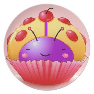 Cherry Ladybug Cupcake Plate