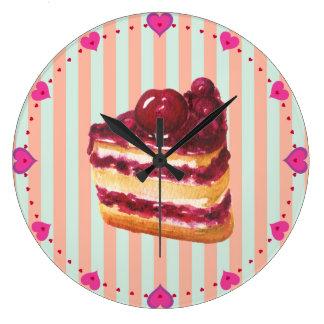 Cherry Layer Cake Wall Clock