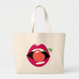 Cherry Lips Large Tote Bag