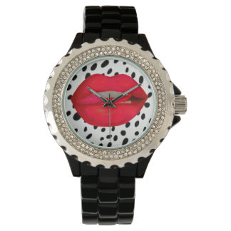 Cherry lips leopard rhinestone wrist watch