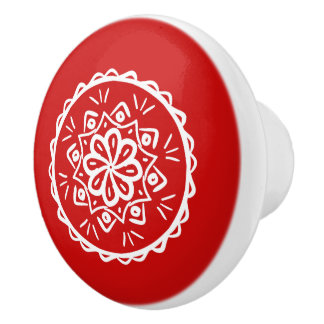 Cherry Mandala Ceramic Knob