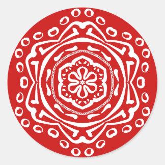Cherry Mandala Round Sticker