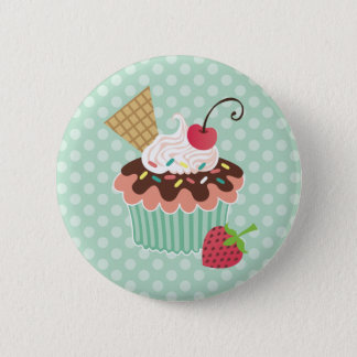 Cherry & Mint Cupcake 6 Cm Round Badge