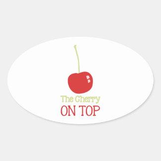 Cherry On Top Oval Sticker