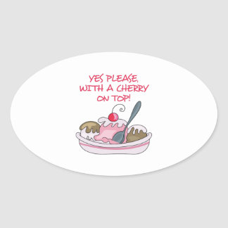 CHERRY ON TOP OVAL STICKERS