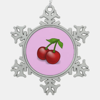 Cherry, Pair Of Cherries, Leaves - Red Green Pewter Snowflake Decoration