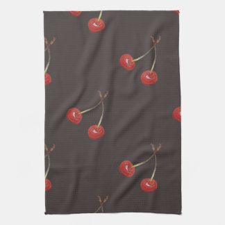 Cherry Pair Pattern (Dark Chocolate) Tea Towel