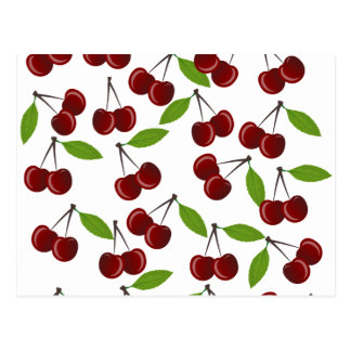 Cherry pattern postcard